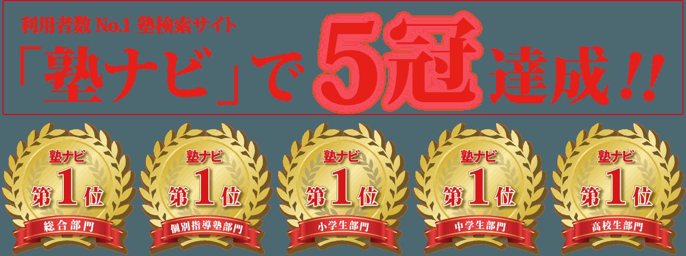 塾ナビで5冠達成!